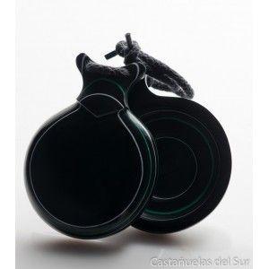 Del Sur Castanets: Capricho Black. Pinstripe White And Green. Nº7