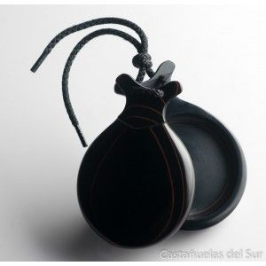 Del Sur Castanets: Fibra Black. Pinstripe Red Teachers Special. Nº7