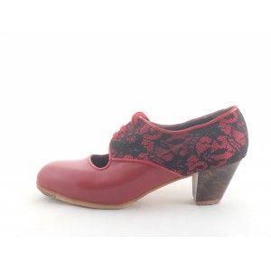 Carmela 40,5 A Leather/Encaje Red/Black+Red Cubano 5 Exposed 4472