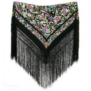 Shawl 100% Silk - Special Shawl Birds on Black