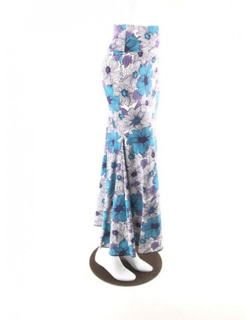 QToma: Skirt Básica - 3 Godet - Print Turpuoise/Purple - XS