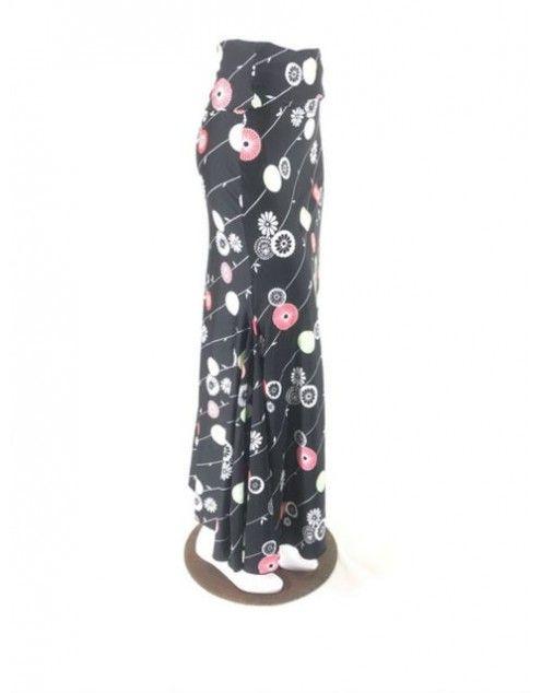 QToma: Skirt Básica - 3 Godet - Print Black - XS