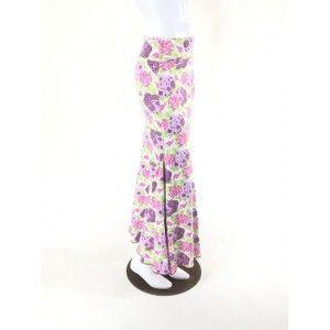 QToma: Skirt Básica - 3 Godet - Print Purple/Pink - XS