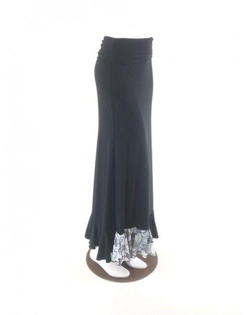 QToma: Skirt Básica - 1 Volante - Print Black S