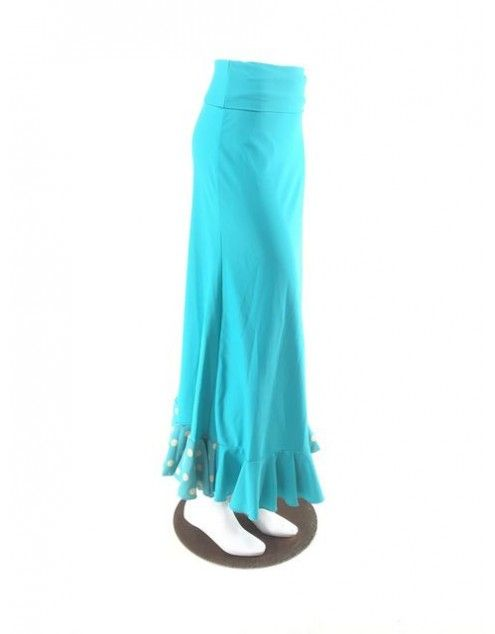 QToma: Skirt Básica - 1 Volante - Print Turquoise M