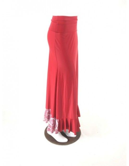 QToma: Skirt Básica - 1 Volante - Print Red L