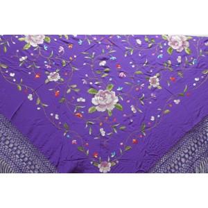 Shawl Silk Verbena 120x120cm Purple Embroidery Multicolor 841