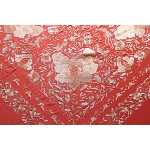 Shawl Silk 140x140cm Teja Embroidery Light Pink 23