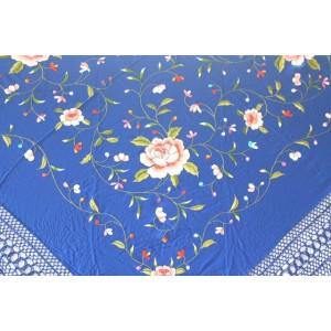 Shawl Silk Verbena 120x120cm Azulón Embroidery Multicolor 841