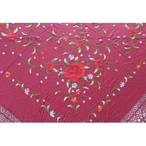 Shawl Silk Verbena 120x120cm Maroon Embroidery Multicolor 477K