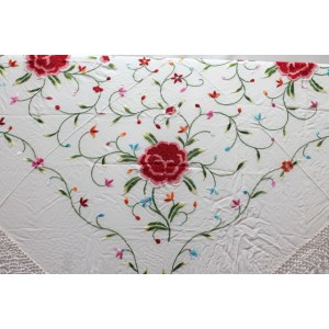 Shawl Silk Verbena 120x120cm White Embroidery Multicolor 01KK