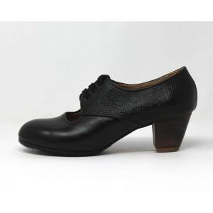 Carmela 37,5 AA+PR Leather Black Cubano 5 Exposed Back Serpentine Black